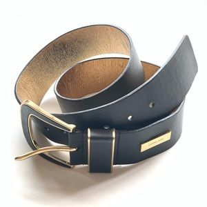 MICHAEL KORS Luxury Line Black + Gold Belt